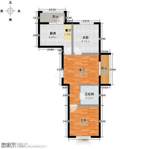 沿湖城2室2厅1卫0厨73.00㎡户型图