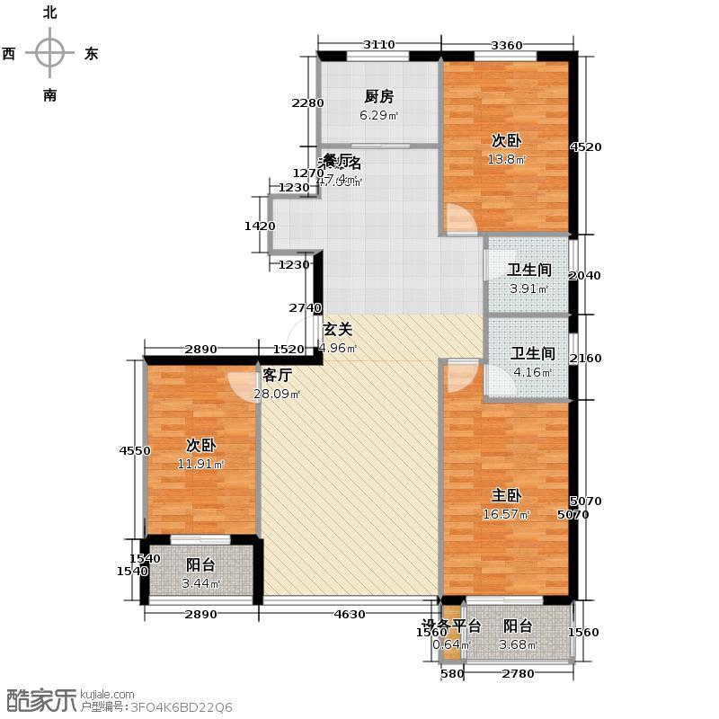 天水丽城160.00㎡一期3号楼1单元D3室户型3室2卫1厨