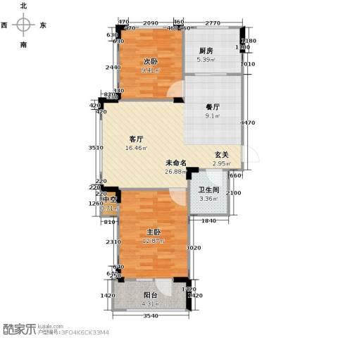 澳海西湖印象2室0厅1卫1厨76.00㎡户型图
