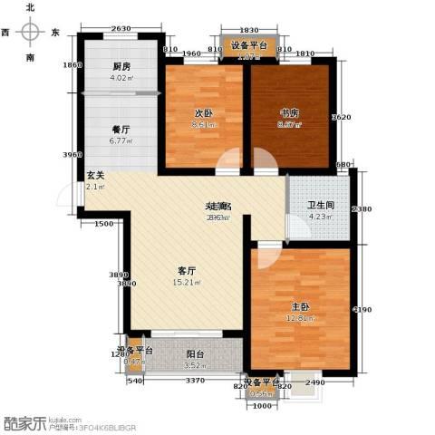 天冠城3室2厅1卫0厨111.00㎡户型图