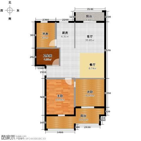 大丰水岸鑫城3室1厅1卫0厨95.00㎡户型图
