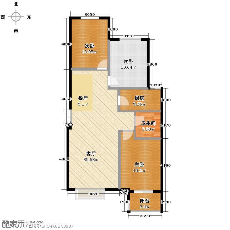 众美城廊桥四季112.41㎡F4户型3室1厅1卫1厨
