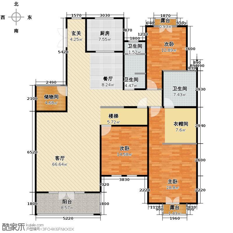 华盛达阅城244.00㎡1、3、5号楼二三层中间套A4下层户型5室2厅3卫