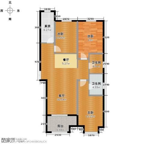百岛绿城3室2厅2卫0厨136.00㎡户型图