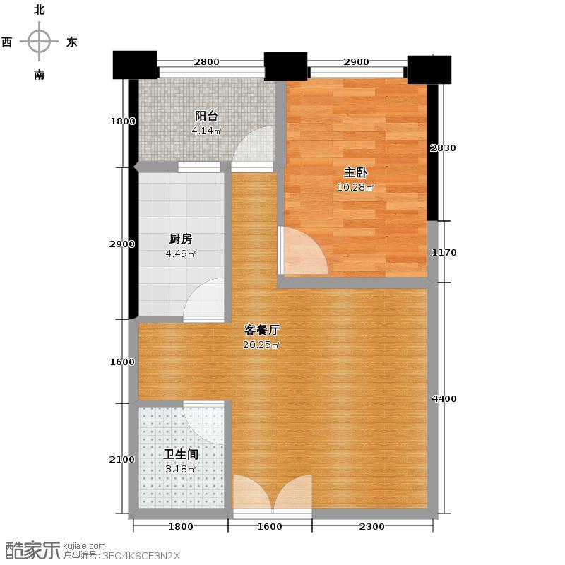 东盟森林63.00㎡A-b户型1室1厅1卫1厨