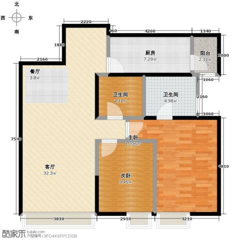 沈阳天地2室2厅2卫0厨116.00㎡户型图