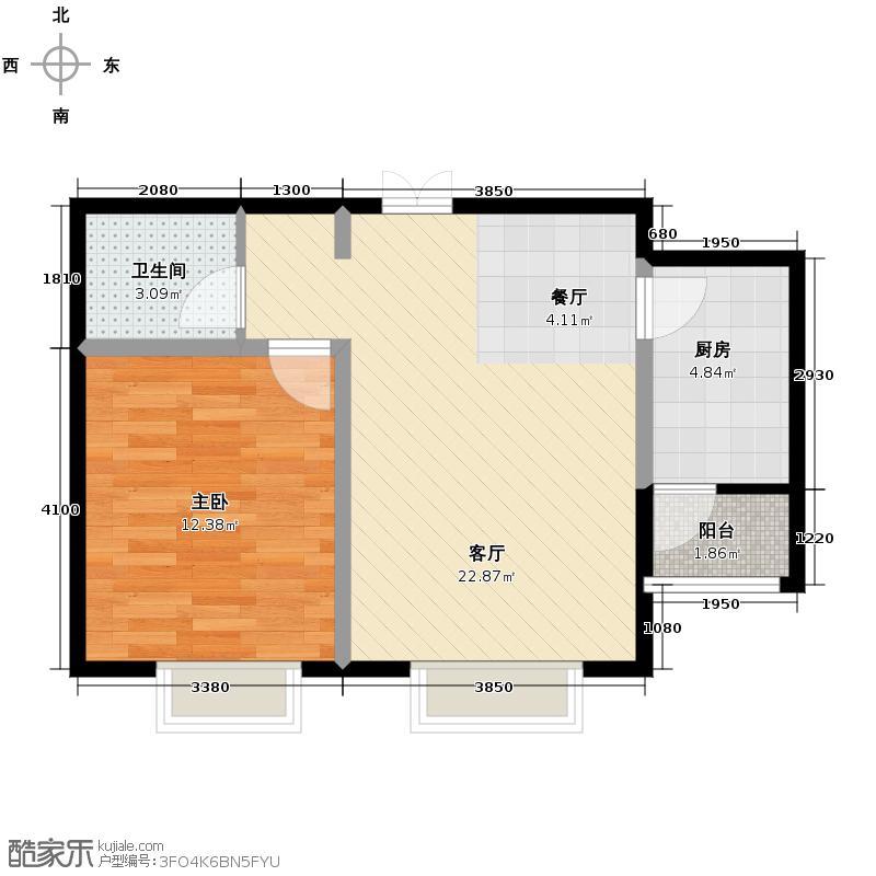 众美城廊桥四季61.34㎡E4户型1室1厅1卫1厨