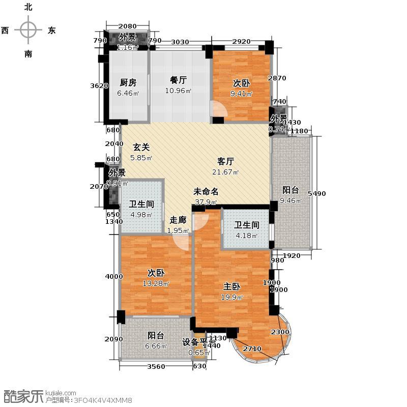 滨江万家星城135.00㎡二期9幢0奇数层W1户型3室2卫1厨