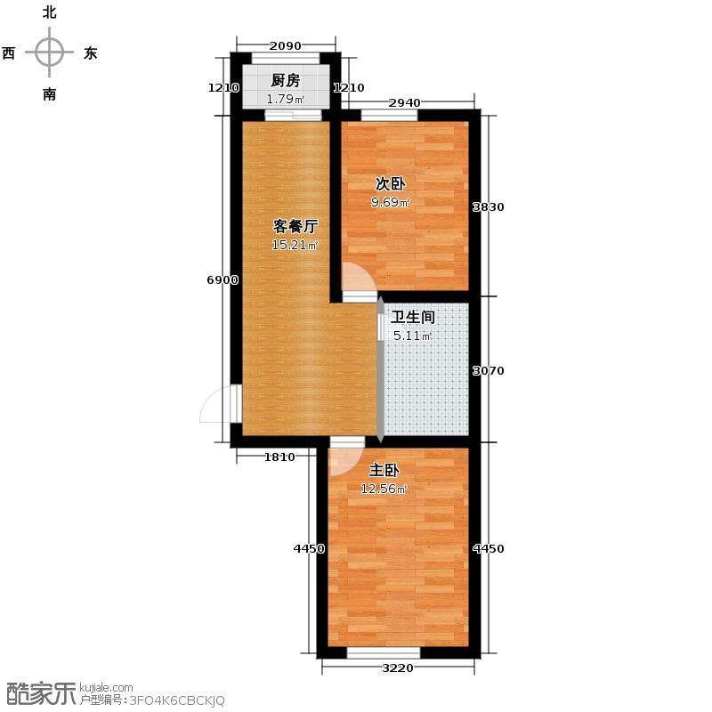 富城国际花园51.58㎡二期住宅-户型2室1厅1卫1厨