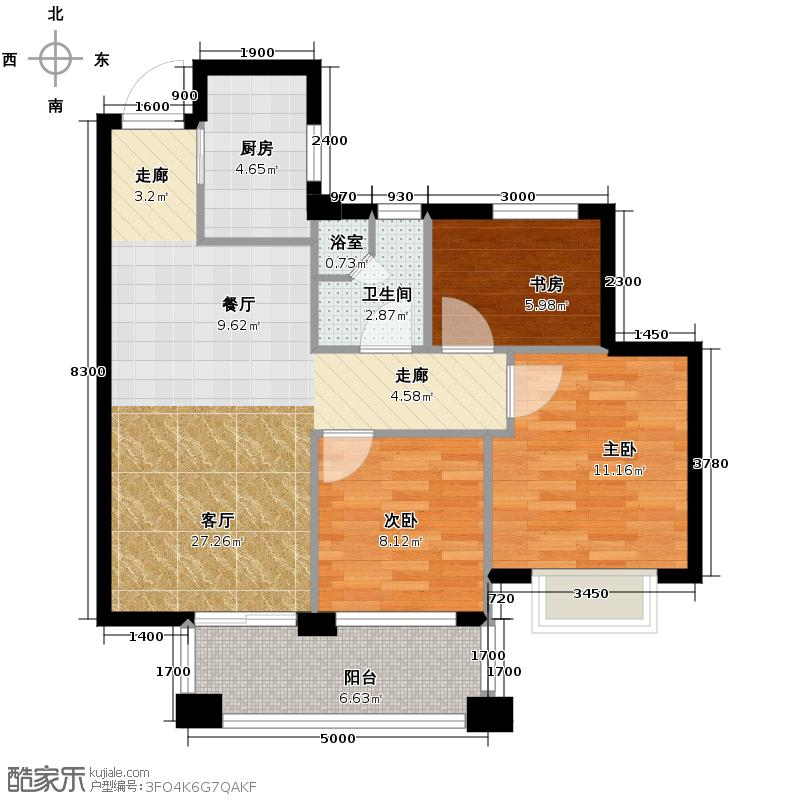 曙光之城89.00㎡新古典户型3室1厅1卫