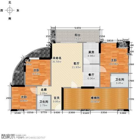东怡水岸花园2室2厅2卫0厨110.00㎡户型图