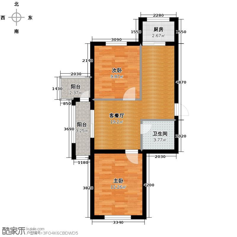 富城国际花园61.79㎡二期住宅-户型2室1厅1卫1厨