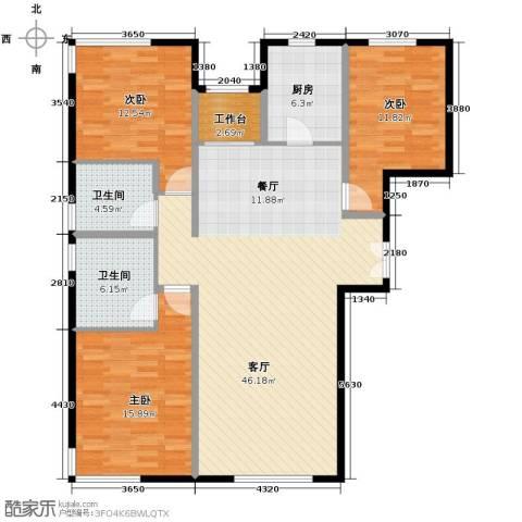 中央悦城3室2厅2卫0厨151.00㎡户型图