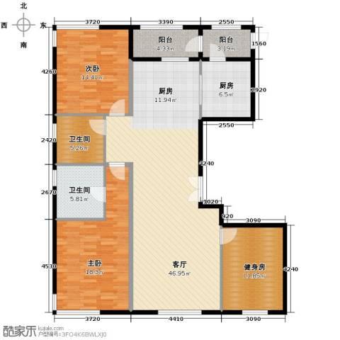中央悦城3室2厅2卫0厨155.00㎡户型图