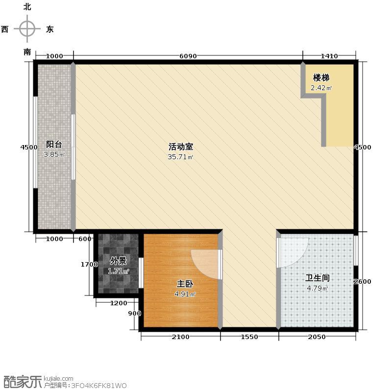 大运河孔雀城55.11㎡c1s一层户型10室