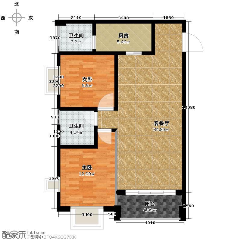 戎锦花园84.38㎡户型2室1厅2卫1厨