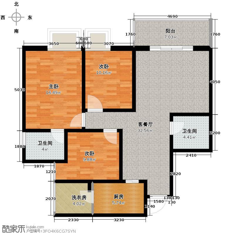 戎锦花园107.24㎡户型3室1厅2卫1厨