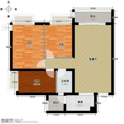 佛山万科广场3室2厅1卫0厨99.00㎡户型图