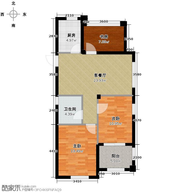 德信北海公园89.00㎡1、2、3、9、10和11号楼A1户型3室2厅1卫