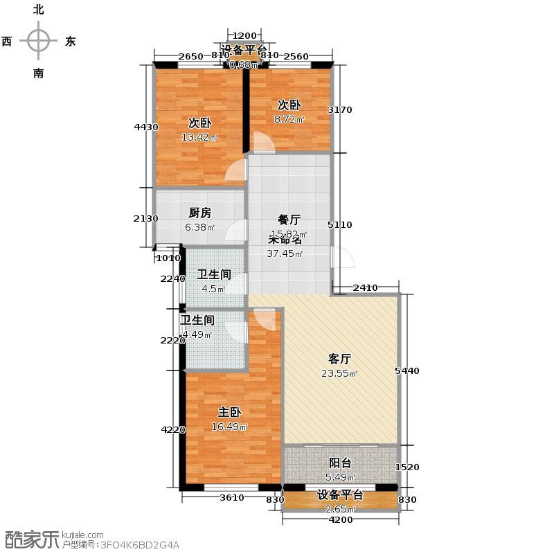 天水丽城156.00㎡3号楼1单元0型E13室户型3室2卫1厨