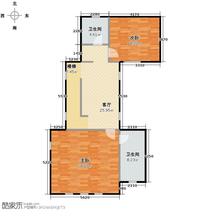大运河孔雀城86.20㎡大堡产品A二层户型10室