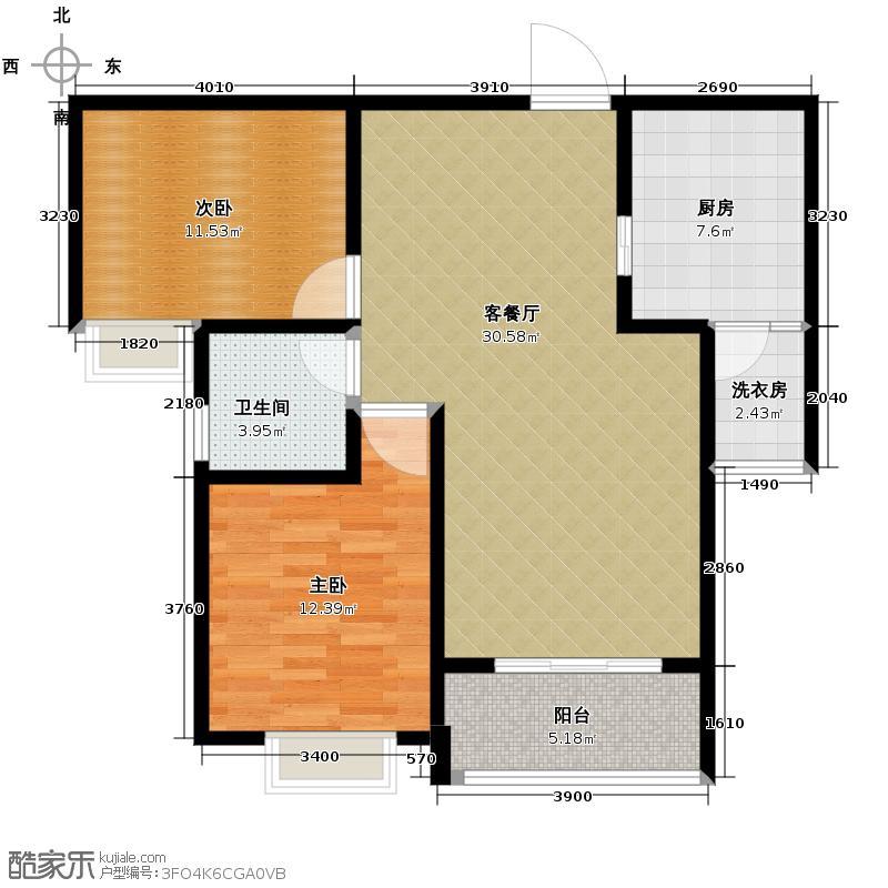 戎锦花园82.94㎡户型2室1厅1卫1厨