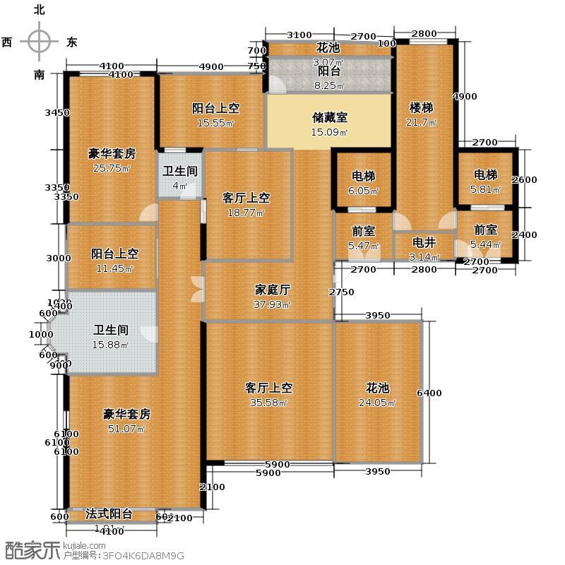 金地天玺327.32㎡2栋��复式01、04单位二层户型10室