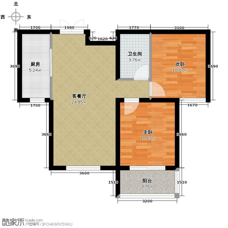 馨园丽景81.64㎡E户型2室1厅1卫1厨