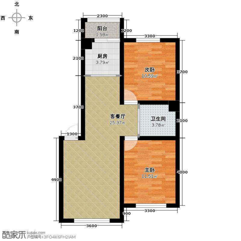 虹景阁75.00㎡D户型2室2厅1卫