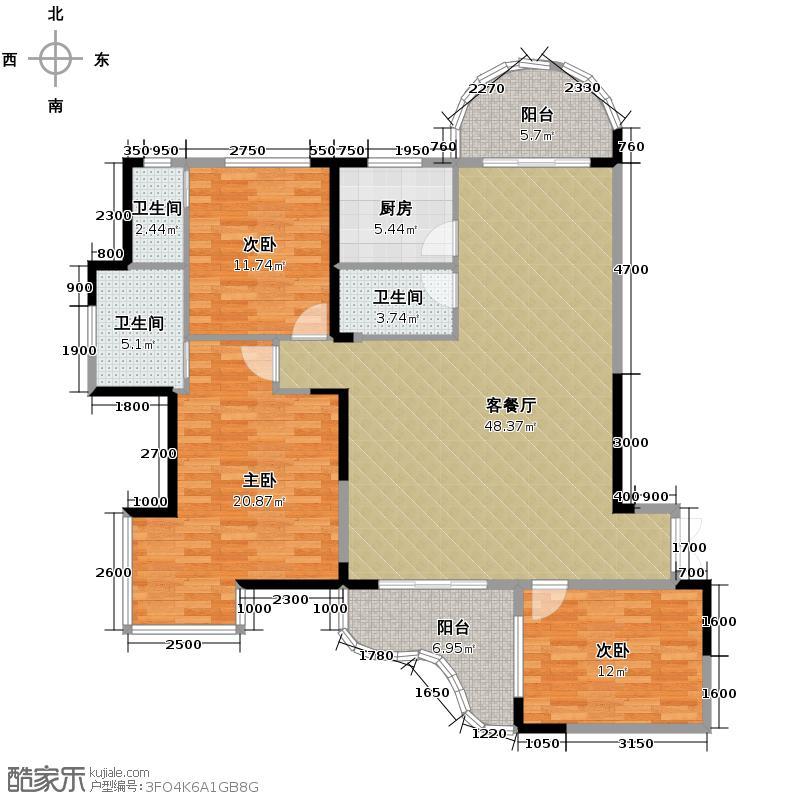湘隆时代大公馆135.06㎡A-1户型3室1厅3卫1厨