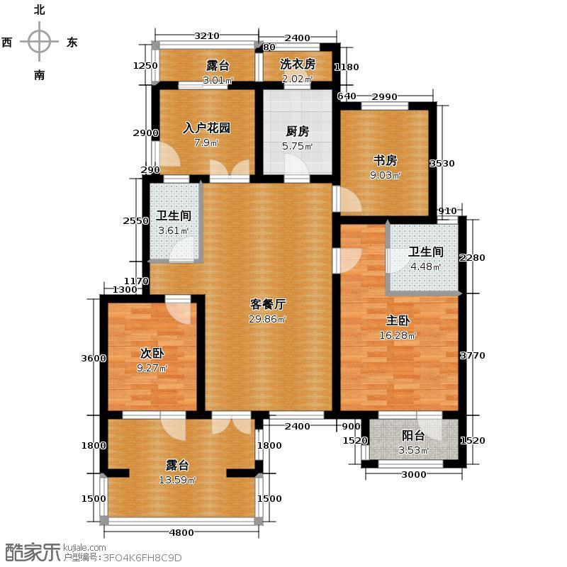 鸿坤・罗纳河谷123.00㎡鸿坤罗纳河谷果岭墅F3户型3室1厅2卫1厨