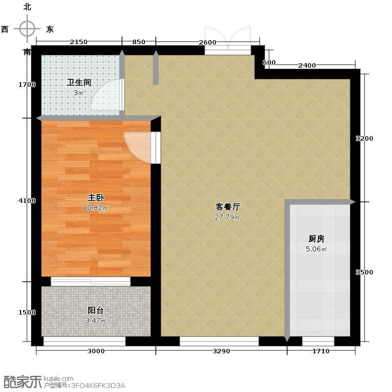 馨园丽景66.14㎡G户型1室1厅1卫1厨