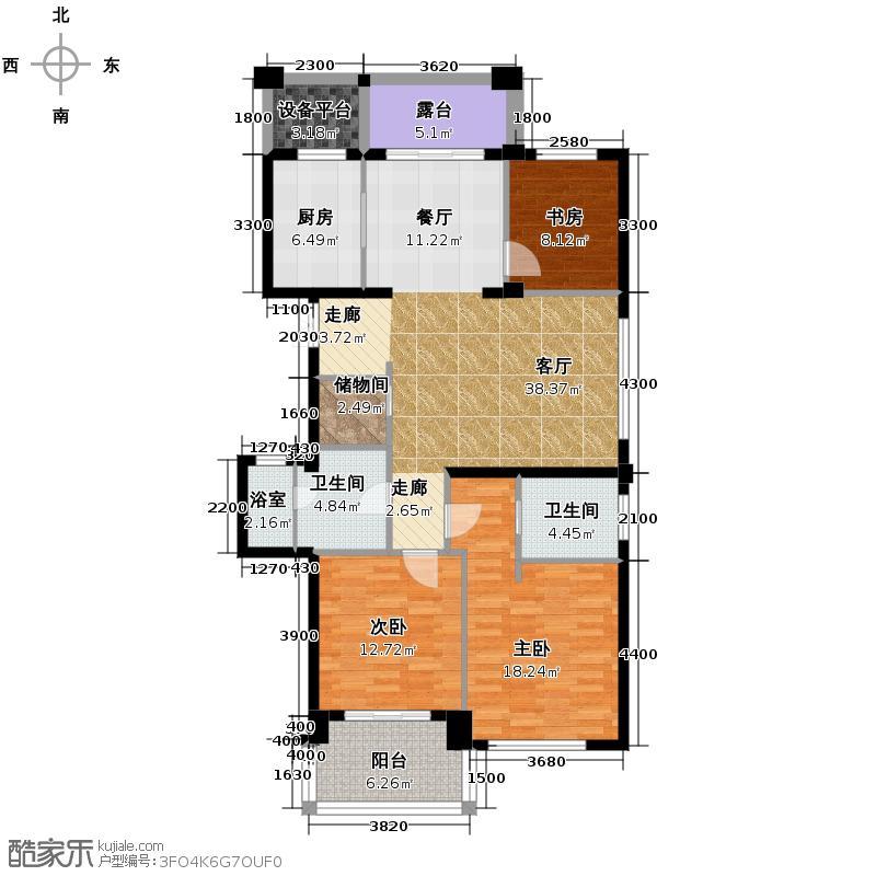 曙光之城139.00㎡8#奇数层边套A3户型3室2厅2卫