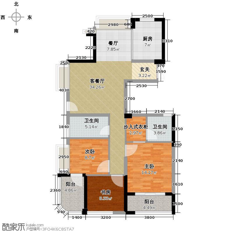 顺发江南丽锦127.00㎡C位于1、2、7、8号楼户型4室2厅2卫