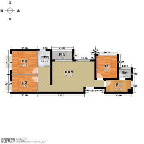 佛山万科广场3室2厅1卫0厨88.00㎡户型图