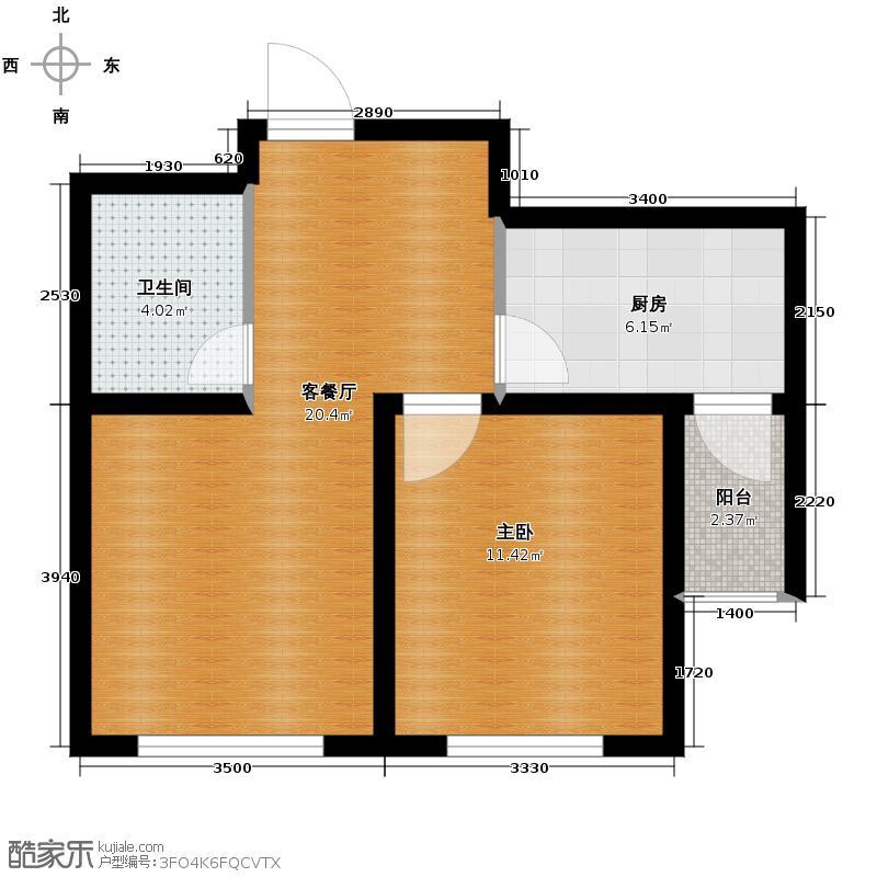 新大华府61.88㎡C1户型1室2厅1卫