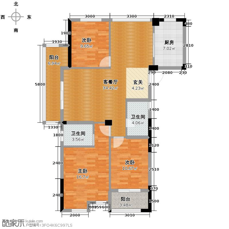 科尔南城嘉园118.00㎡B1奇数层装修方案(一)户型3室2厅2卫