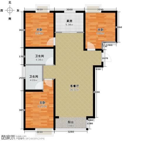 香汐3室2厅2卫0厨114.00㎡户型图