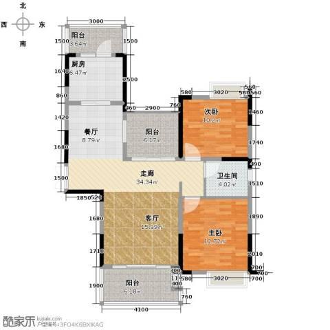 恒基九珑天誉2室2厅1卫0厨105.00㎡户型图