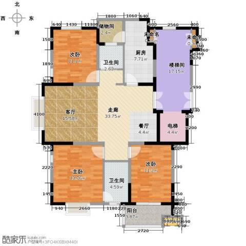 鸿雁名居3室0厅2卫1厨114.00㎡户型图