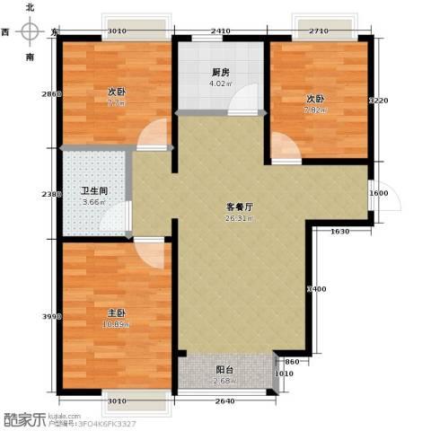 香汐3室2厅1卫0厨88.00㎡户型图