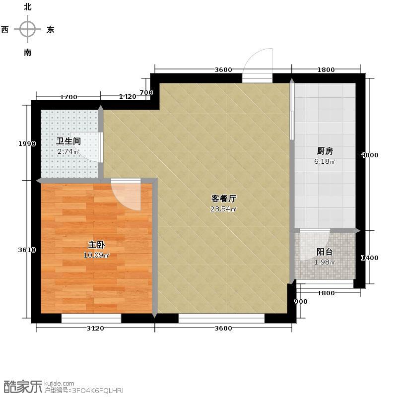 雨润溪树华庭62.90㎡b户型1室2厅1卫