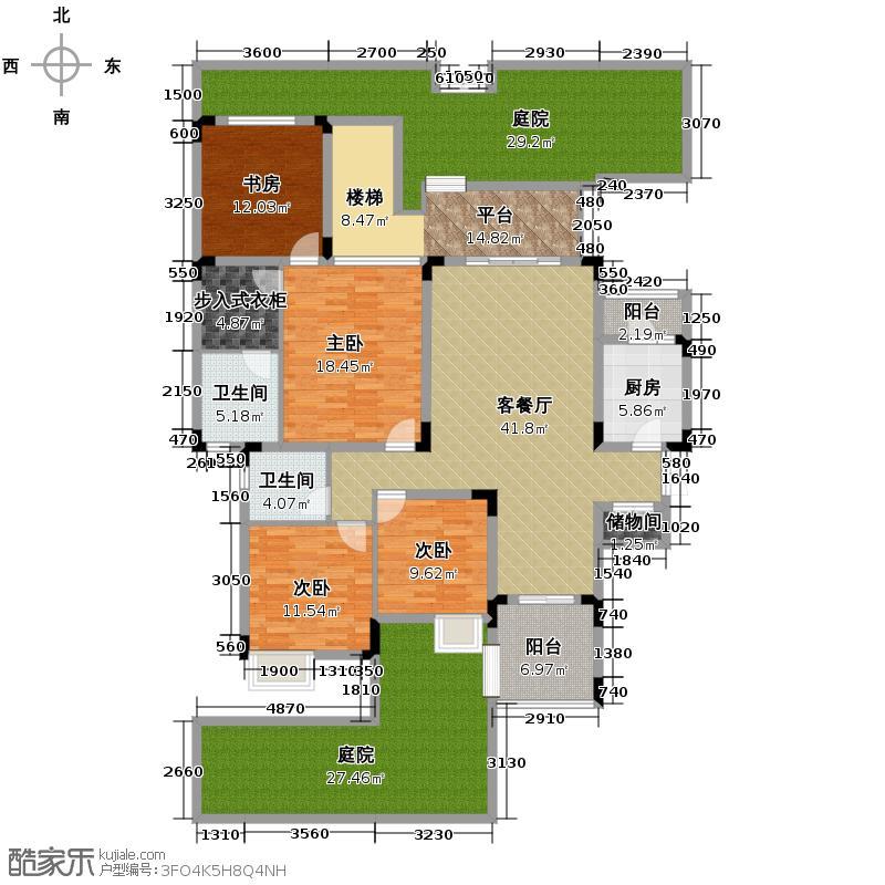 中铁山水一舍137.00㎡A1双卫平层户型4室1厅2卫1厨