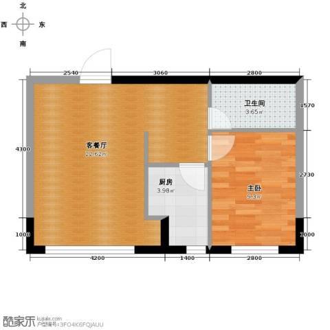 台北雅苑1室2厅1卫0厨44.52㎡户型图