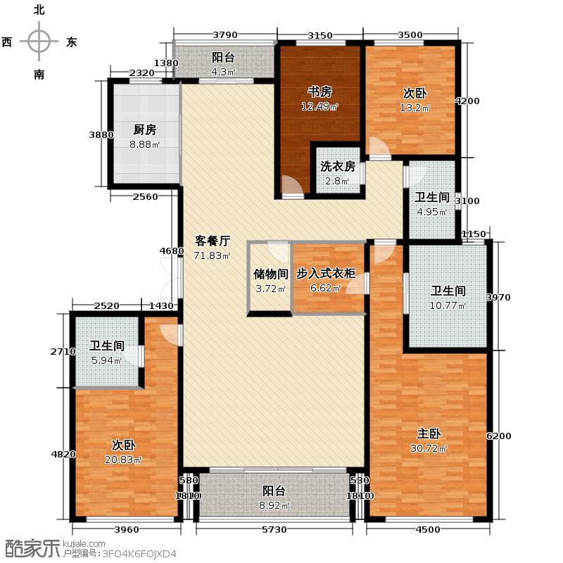 绿城西溪诚园256.00㎡K户型4室2厅3卫