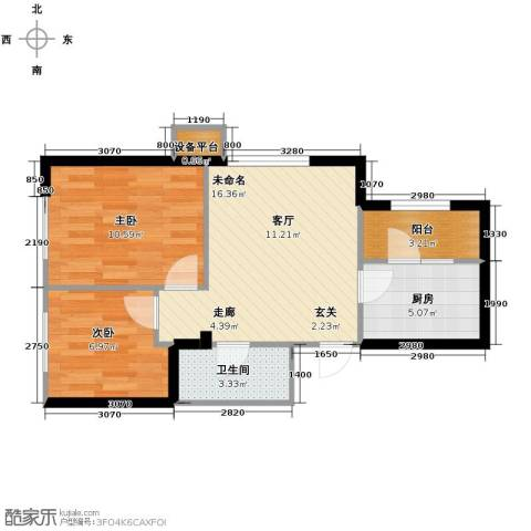 华府丹郡2室1厅1卫0厨64.00㎡户型图