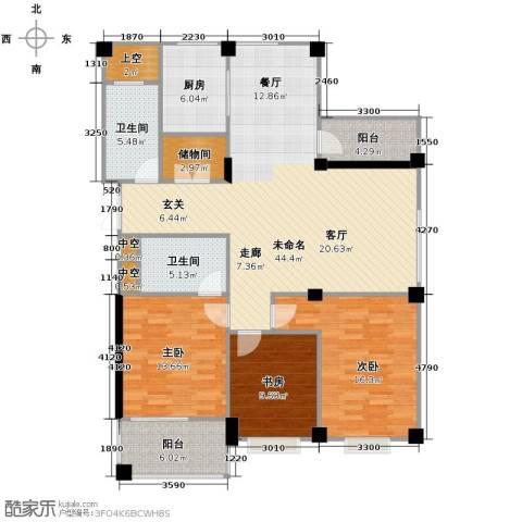 水木清华3室0厅2卫1厨160.00㎡户型图