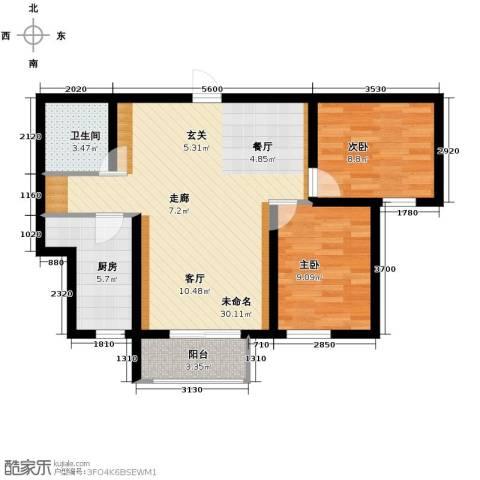弘达明尚2室2厅1卫0厨92.00㎡户型图
