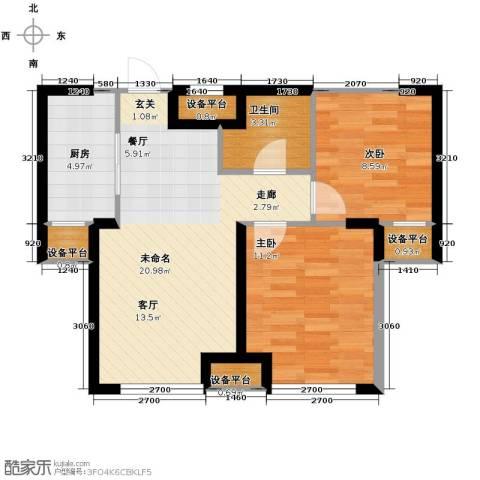 华府丹郡2室2厅1卫0厨74.00㎡户型图