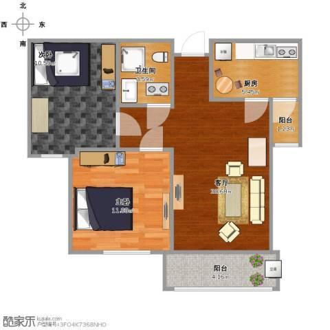 颐泊湾2室1厅1卫1厨61.76㎡户型图